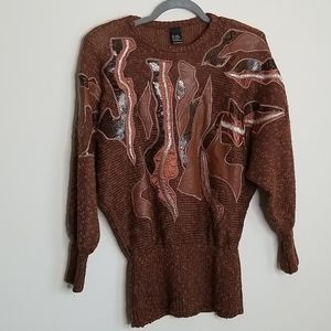 Suzelle Vintage Abstract Brown Sweater M